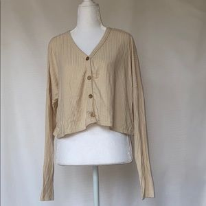 NWT - beige rubbed cardigan top
